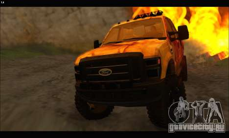 Ford F-250 Rusty Lifted 2010 для GTA San Andreas вид изнутри