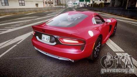 Dodge Viper SRT 2012 для GTA 4 вид сзади слева