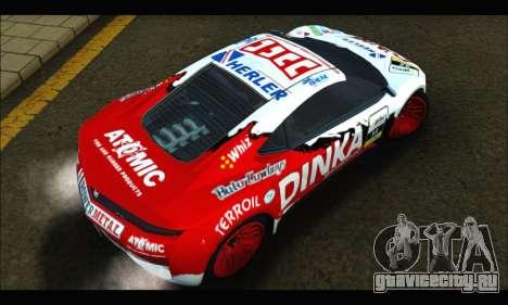 Dinka Jester Racear (GTA V) для GTA San Andreas вид изнутри
