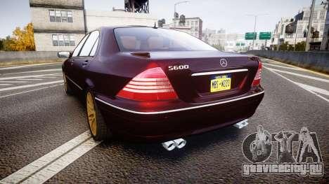 Mercedes-Benz S600 W220 для GTA 4 вид сзади слева