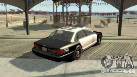 GTA V Vapid Stanier Police Cruiser для GTA 4 вид сзади слева