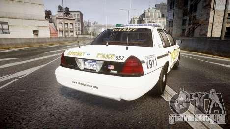Ford Crown Victoria Police Alderney [ELS] для GTA 4 вид сзади слева
