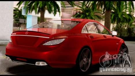Mercedes-Benz CLS 63 AMG 2010 для GTA San Andreas вид изнутри