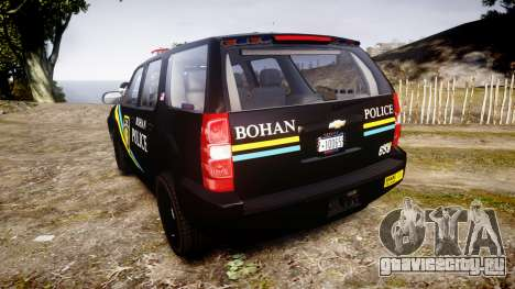 Chevrolet Tahoe 2010 Sheriff Bohan [ELS] для GTA 4 вид сзади слева