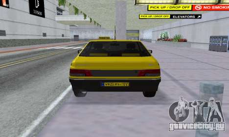 Peugeot 405 Roa Taxi для GTA San Andreas вид сзади