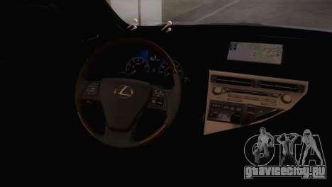 Lexus RX450H 2012 для GTA San Andreas вид справа