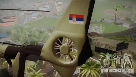 SA 342 Serbian Police Gazelle CAMO для GTA San Andreas вид сзади слева