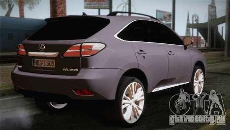 Lexus RX450H 2012 для GTA San Andreas вид слева