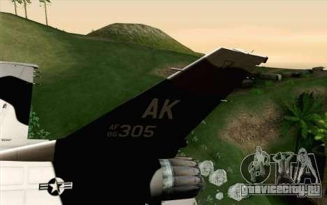 F-16C Fighting Falcon Aggressor Alaska BlackGrey для GTA San Andreas вид сзади слева