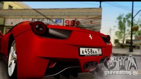 Ferrari 458 Italia для GTA San Andreas вид справа