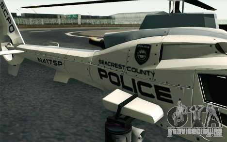 NFS HP 2010 Police Helicopter LVL 1 для GTA San Andreas вид сзади