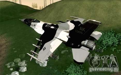 F-16C Fighting Falcon Aggressor Alaska BlackGrey для GTA San Andreas вид слева
