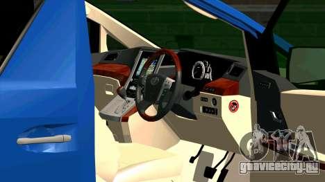 Toyota Alphard 350G для GTA San Andreas вид изнутри