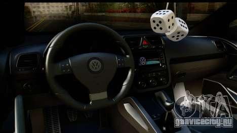 Volkswagen Scirocco для GTA San Andreas вид изнутри