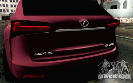 Lexus NX 200T v3 для GTA San Andreas вид сзади