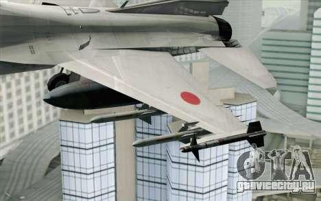 Mitsubishi F-2 Blue JASDF Skin для GTA San Andreas вид сзади