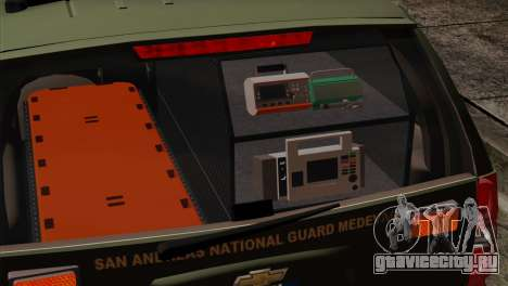 Chevrolet Suburban National Guard MedEvac для GTA San Andreas вид сзади