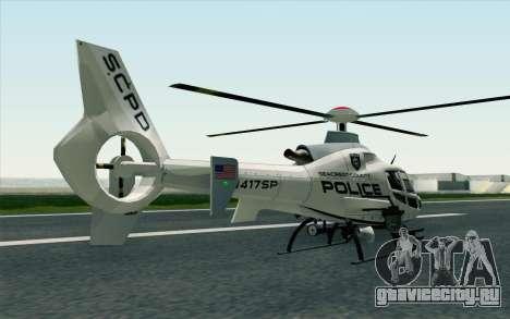 NFS HP 2010 Police Helicopter LVL 1 для GTA San Andreas вид слева