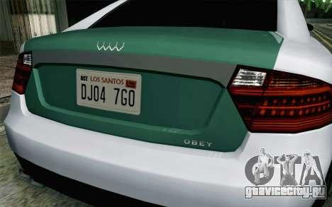 GTA 5 Obey Tailgater v2 IVF для GTA San Andreas вид сзади