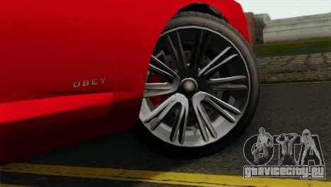 GTA 5 Obey Tailgater для GTA San Andreas вид сзади слева