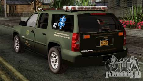 Chevrolet Suburban National Guard MedEvac для GTA San Andreas вид слева