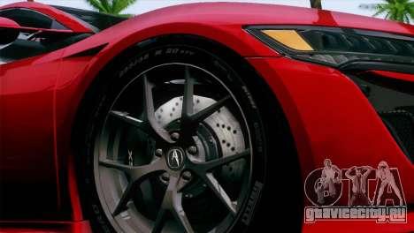 Acura NSX 2016 v1.0 JAP Plate для GTA San Andreas вид справа