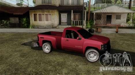 Chevrolet Silverado Cabina Sencilla для GTA San Andreas вид сзади слева