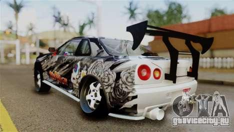 Nissan Skyline GTR34 Tokage для GTA San Andreas вид сзади слева