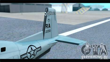 Beechcraft T-6 Texan II US Air Force 4 для GTA San Andreas вид сзади слева