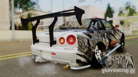 Nissan Skyline GTR34 Tokage для GTA San Andreas вид слева