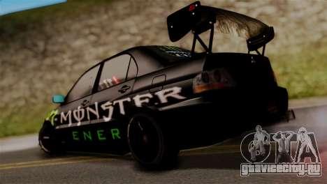 Mitsubishi Lancer Evo IX Monster Energy для GTA San Andreas вид слева