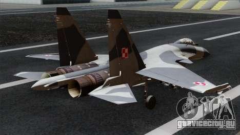 SU-37 Flanker-F Polish Air Force для GTA San Andreas вид слева