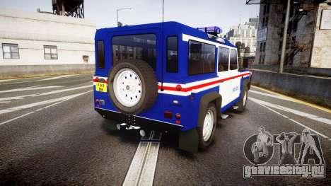 Land Rover Defender Policia PSP [ELS] для GTA 4 вид сзади слева