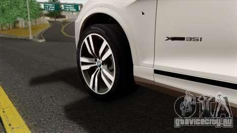 BMW X3 F25 2012 для GTA San Andreas вид сзади слева