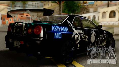 Nissan Skyline GT-R BNR34 Mio Akiyama Itasha для GTA San Andreas вид слева