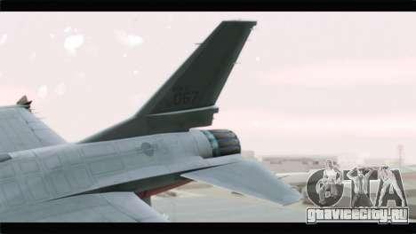 F-16A Republic of Korea Air Force для GTA San Andreas вид сзади слева