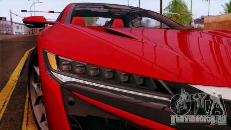 Acura NSX 2016 v1.0 JAP Plate для GTA San Andreas вид сбоку