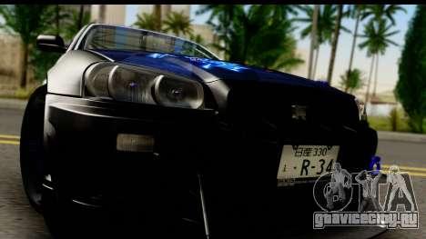 Nissan Skyline GT-R BNR34 Mio Akiyama Itasha для GTA San Andreas вид сзади слева