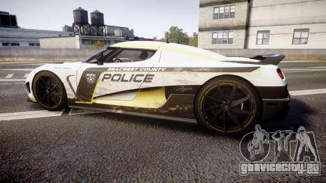 Koenigsegg Agera 2013 Police [EPM] v1.1 PJ2 для GTA 4 вид слева