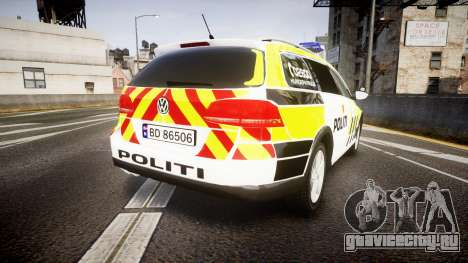 Volkswagen Passat B7 Police 2015 [ELS] marked для GTA 4 вид сзади слева