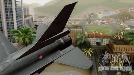 F-16AM Fighting Falcon для GTA San Andreas вид сзади слева