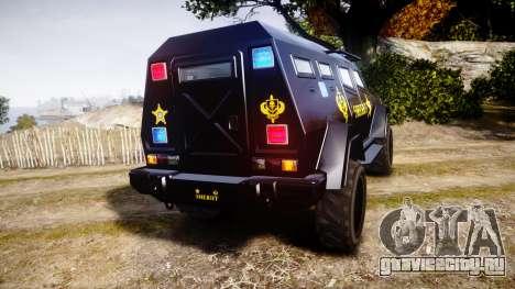 GTA V HVY Insurgent Pick-Up SWAT [ELS] для GTA 4 вид сзади слева