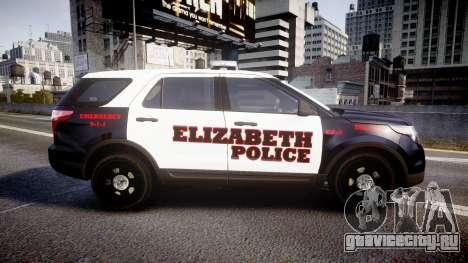 Ford Explorer 2011 Elizabeth Police [ELS] v2 для GTA 4 вид слева