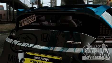 Honda CRZ Mugen Stance Miku Itasha для GTA San Andreas вид сзади