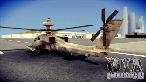 AH64 Apache MOHW для GTA San Andreas вид слева