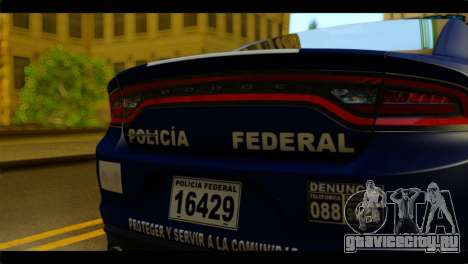 Dodge Charger 2015 Mexican Police для GTA San Andreas вид сзади