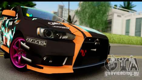 Mitsubishi Lancer Evolution X 2014 Itasha для GTA San Andreas вид сзади слева