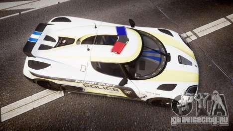 Koenigsegg Agera 2013 Police [EPM] v1.1 PJ2 для GTA 4 вид справа