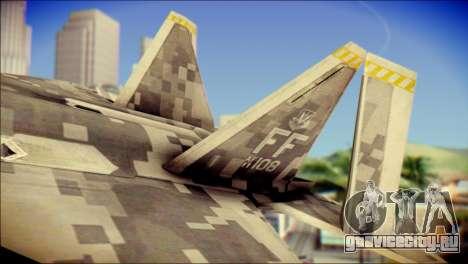 F-22 Raptor Digital Camo для GTA San Andreas вид сзади слева