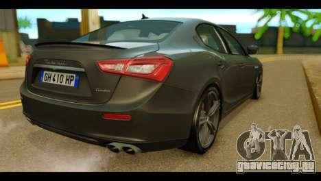 Maserati Ghibli S 2014 v1.0 EU Plate для GTA San Andreas вид слева